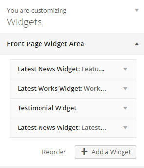 Front page widgets