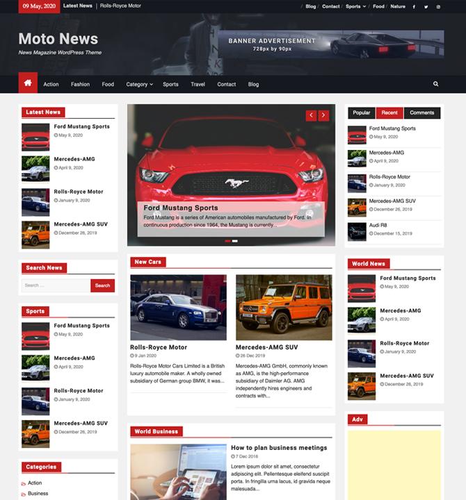 Moto News WordPress Magazine Theme