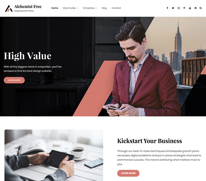 Alchemist -Best Free Business WordPress Themes and Templates 2020