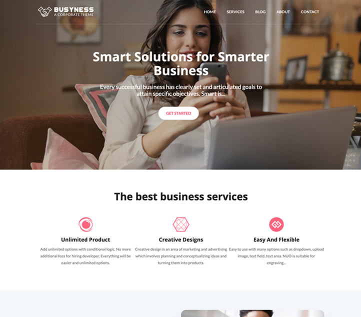 Busyness -Best Free Business WordPress Themes and Templates 2020