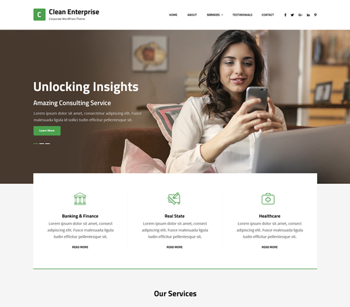 Clean Enterprise -Best Free Business WordPress Themes and Templates 2020