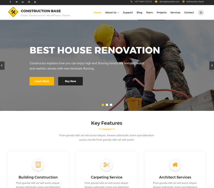 Construction Base - Best Free Business WordPress Themes and Templates 2020