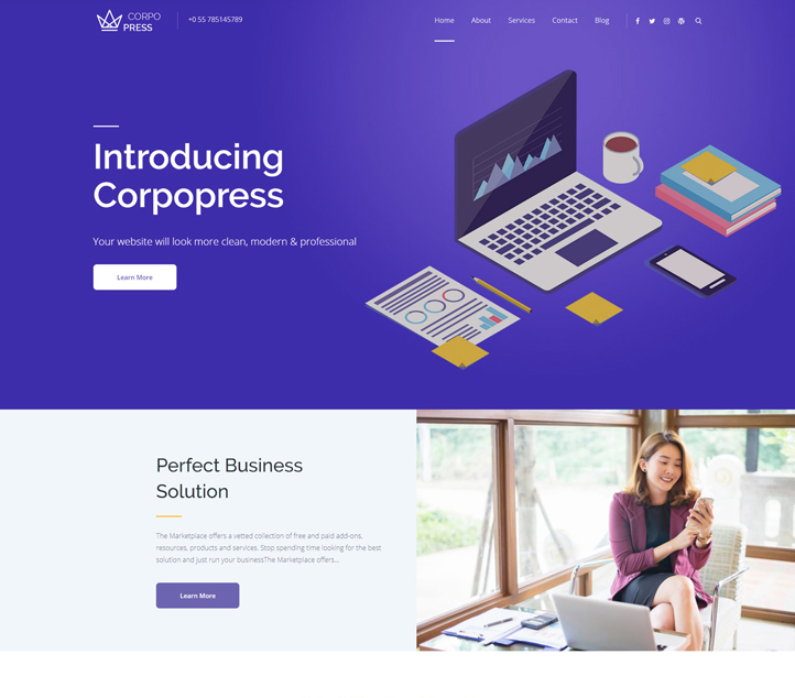 Corpopress - Best Free Business WordPress Themes and Templates 2020