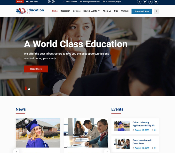 Education Soul - Best Free Business WordPress Themes and Templates 2020