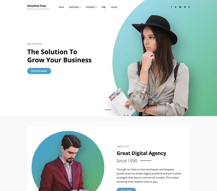 Intuitive -Best Free Business WordPress Themes and Templates 2020