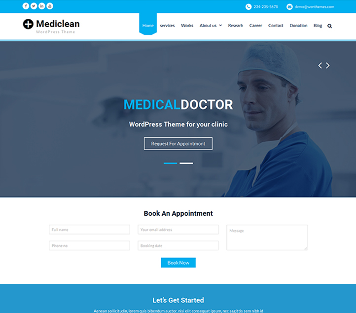 Mediclean - Best Free Business WordPress Themes and Templates 2020
