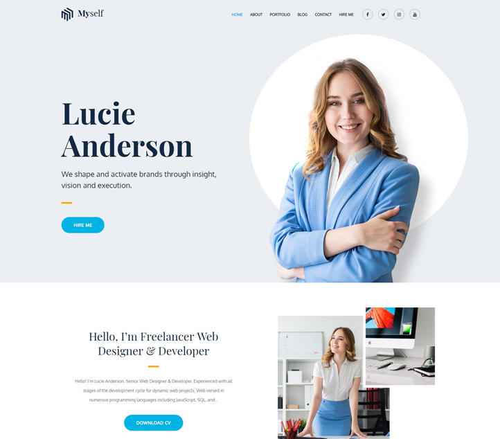 Myself -Best Free Business WordPress Themes and Templates 2020