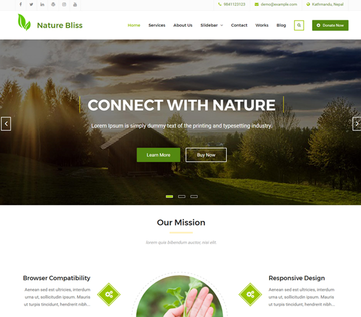 Nature Bliss - Best Free Business WordPress Themes and Templates 2020