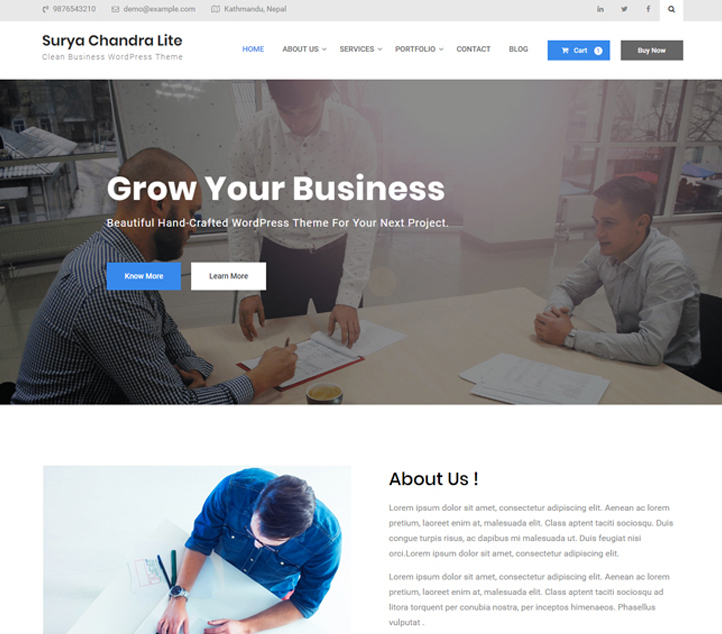Surya Chandra Lite -Best Free Business WordPress Themes and Templates 2020
